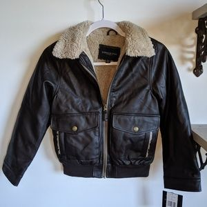 Boy's  size 8 fur lined brown bomber jacket NWT